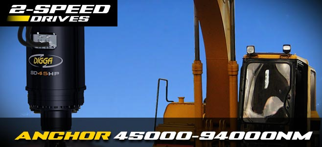 High powered anchor drives: 2 speed for excavators 45000nm-94000nm - Digga Europe