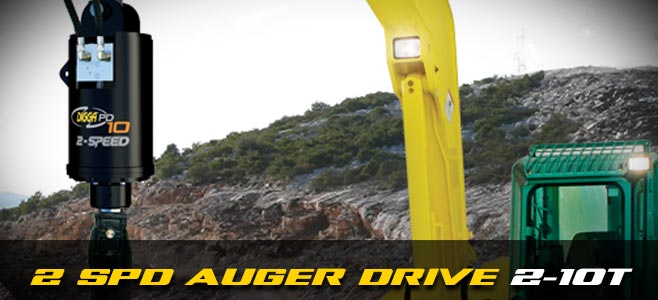 Auger drives: 2 speed for mini excavators 2-5 tonnes - Digga Europe