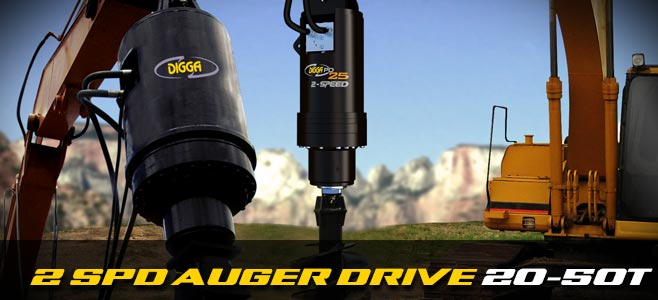 Auger drives: 2 speed for large excavators 20-50 tonnes - Digga Europe