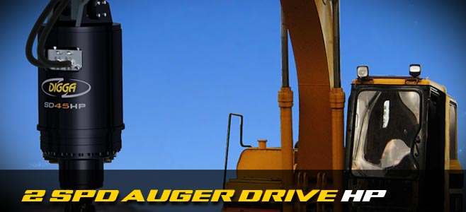 High powered auger drives: 2 speed for excavators - Digga Europe